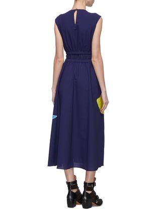 Back View - Click To Enlarge - MINKI - Abstract colourblock panelled waist sleeveless dress