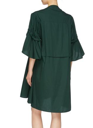 Back View - Click To Enlarge - MINKI - Asymmetric drawstring hem ruched sleeve dress