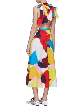 Back View - Click To Enlarge - MINKI - Cutout back bow abstract print dress