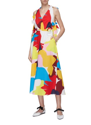 Figure View - Click To Enlarge - MINKI - Cutout back bow abstract print dress