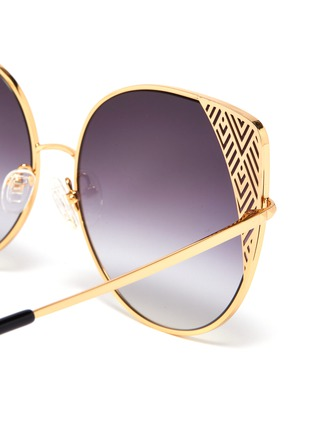 Detail View - Click To Enlarge - Matthew Williamson - Cutout corner metal oversized cat eye sunglasses