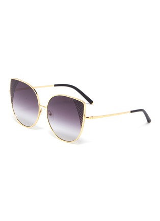 Main View - Click To Enlarge - Matthew Williamson - Cutout corner metal oversized cat eye sunglasses