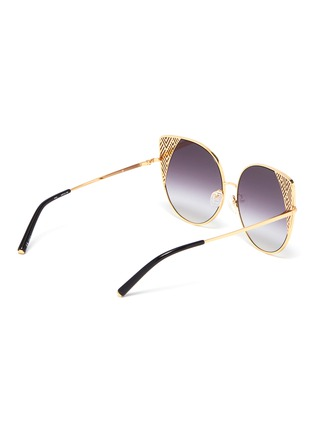 Figure View - Click To Enlarge - Matthew Williamson - Cutout corner metal oversized cat eye sunglasses