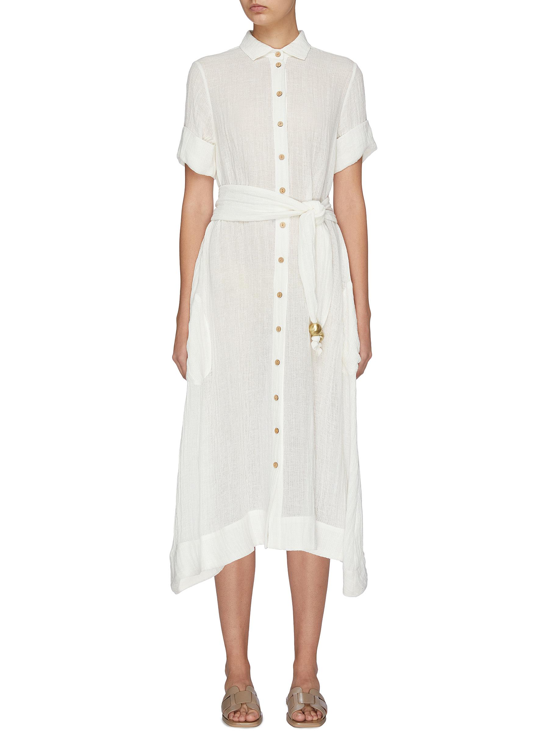 Buy Lisa Marie Fernandez Dresses Bead belted linen blend shirt dress