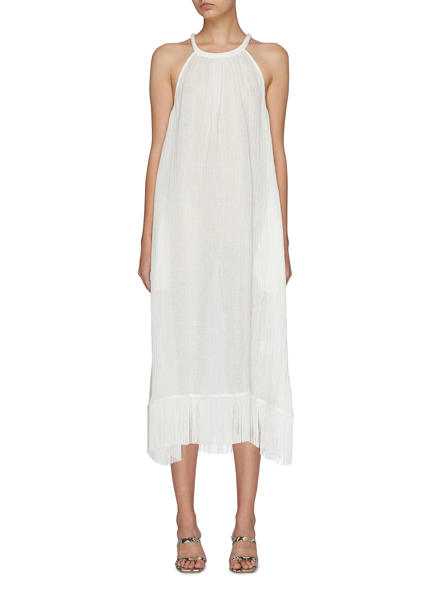 Ojai fringe hem linen blend sleeveless dress by Lisa Marie Fernandez