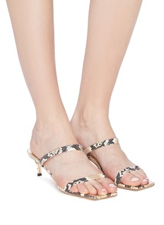 BY FAR 'Thalia' snake embossed leather sandals