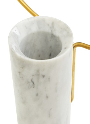 Detail View - Click To Enlarge - SHANG XIA - Small cylindrical marble vase with a brass hoop