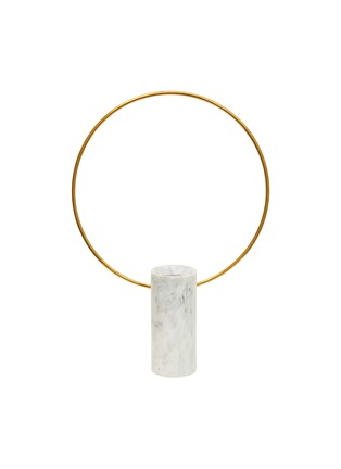 Main View - Click To Enlarge - SHANG XIA - Small cylindrical marble vase with a brass hoop