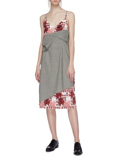 SNOW XUE GAO 'Beacon' layered graphic print silk slip dress