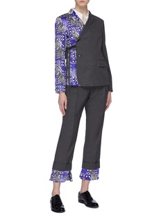 SNOW XUE GAO 'Clarkson' silk graphic print cuff wool suiting pants