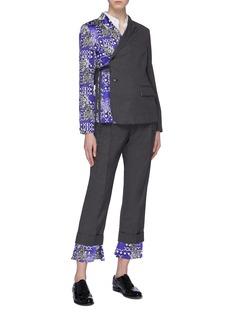 SNOW XUE GAO Side tie silk graphic print panel wool blazer
