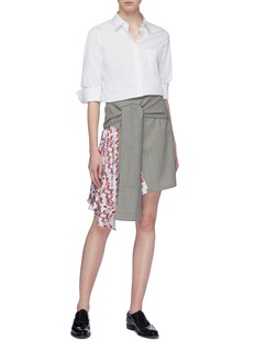 SNOW XUE GAO Asymmetric silk graphic print panel sash tie waist skirt