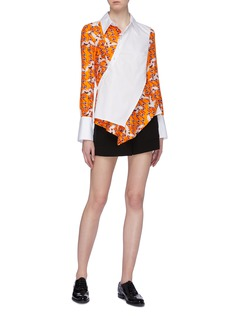 SNOW XUE GAO Silk graphic print panel slant placket poplin shirt