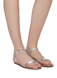 Gianvito Rossi 'Serena' jewelled ankle strap mirror leather sandals