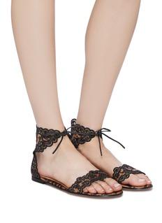 Gianvito Rossi 'Evie' ankle tie lace trim leopard print satin sandals