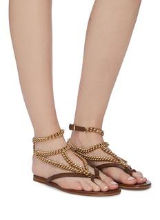 Gianvito Rossi 'Scorpios' detachable chain ankle strap leather sandals
