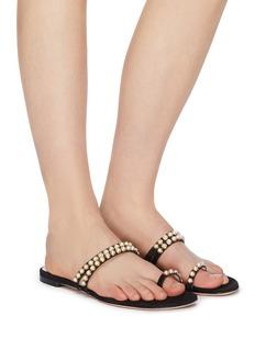 Stuart Weitzman 'Petrina' faux pearl strappy suede slide sandals
