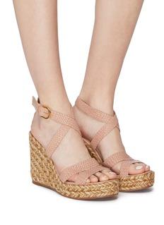 Stuart Weitzman 'Elsie' woven leather cross strap espadrille wedge sandals