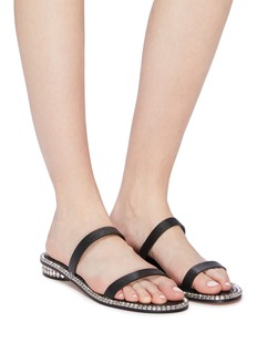 Stuart Weitzman 'Coquina' glass crystal welt outsole leather sandals