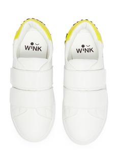WiNK 'Popcorn' mix appliqué kids leather sneakers