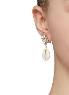 Anton Heunis Swarovski crystal stud seashell drop earrings