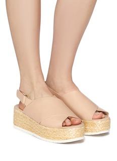 Vince 'Jesson' cross strap leather slingback platform espadrille sandals