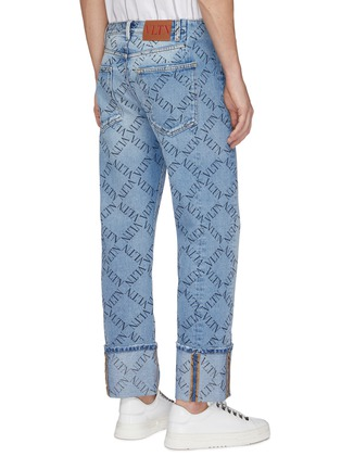 Back View - Click To Enlarge - Valentino - 'VLTN Grid' print roll cuff jeans