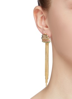 Venna Glass crystal hamburger fries fringe drop mismatched earrings