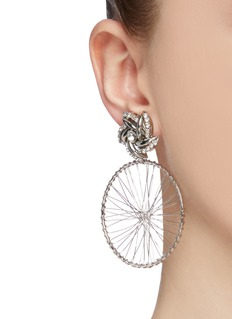 Venna Detachable wheel drop glass crystal earrings