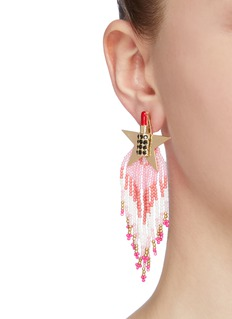 Venna Glass crystal lipstick star beaded fringe drop earrings