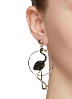 Venna Detachable hoop flamingo drop earrings