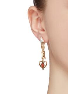 Venna Glass crystal detachable heart drop earrings