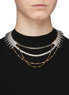 Venna Glass crystal multi chain tiered necklace