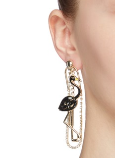 Venna Glass crystal flamingo drop earrings