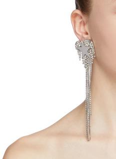 Venna Glass crystal star heart fringe drop earrings