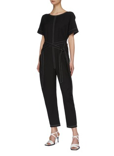The R Collective 'Avalon' contrast topstitching belted jumpsuit