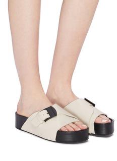 SIMON MILLER 'Chunk' buckled leather flatform slide sandals