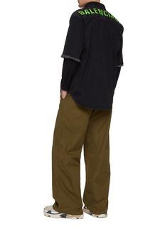 Balenciaga Logo print back frayed cuff denim short sleeve shirt
