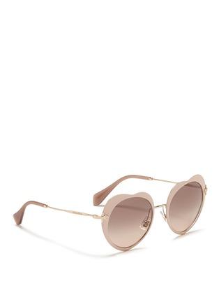 Figure View - Click To Enlarge - miu miu - Matte coated heart metal sunglasses