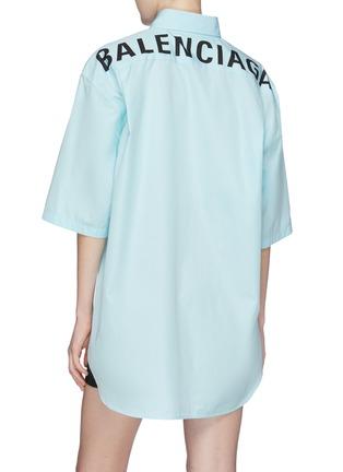 Back View - Click To Enlarge - BALENCIAGA - Logo print back oversized short sleeve shirt