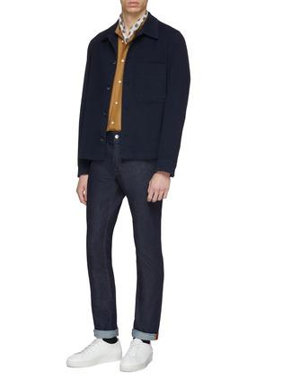 Figure View - Click To Enlarge - CAMOSHITA - Mandarin collar cupro-cotton shirt