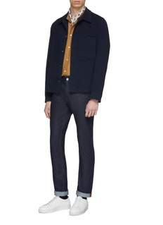 Camoshita Mandarin collar cupro-cotton shirt