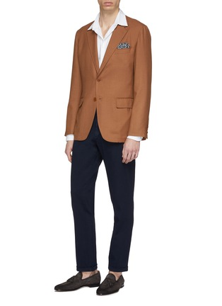 Figure View - Click To Enlarge - CAMOSHITA - Rayon-wool soft blazer