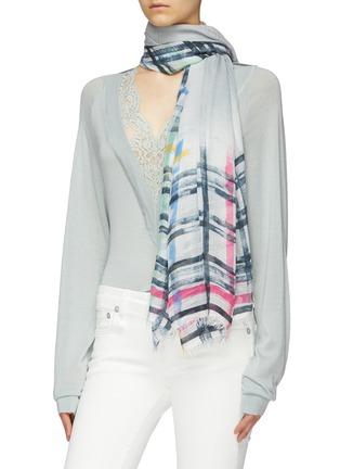 Figure View - Click To Enlarge - FALIERO SARTI - 'Spruzzino' check border modal-cashmere scarf