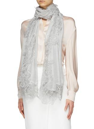 Figure View - Click To Enlarge - FALIERO SARTI - 'Jolie' Chantilly lace border gauze scarf