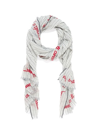 Main View - Click To Enlarge - FALIERO SARTI - 'Lucious' slogan embroidered border stripe scarf