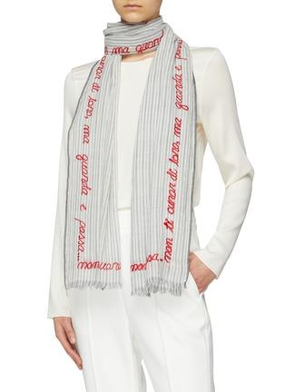 Figure View - Click To Enlarge - FALIERO SARTI - 'Lucious' slogan embroidered border stripe scarf