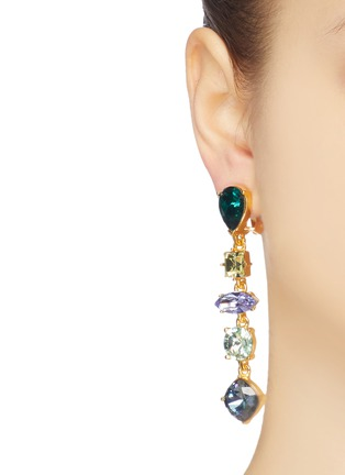 Figure View - Click To Enlarge - KENNETH JAY LANE - Glass crystal link drop clip earrings