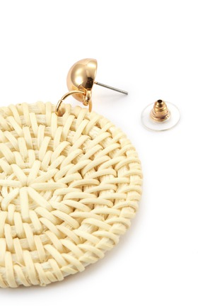 Detail View - Click To Enlarge - KENNETH JAY LANE - Rattan circle drop earrings