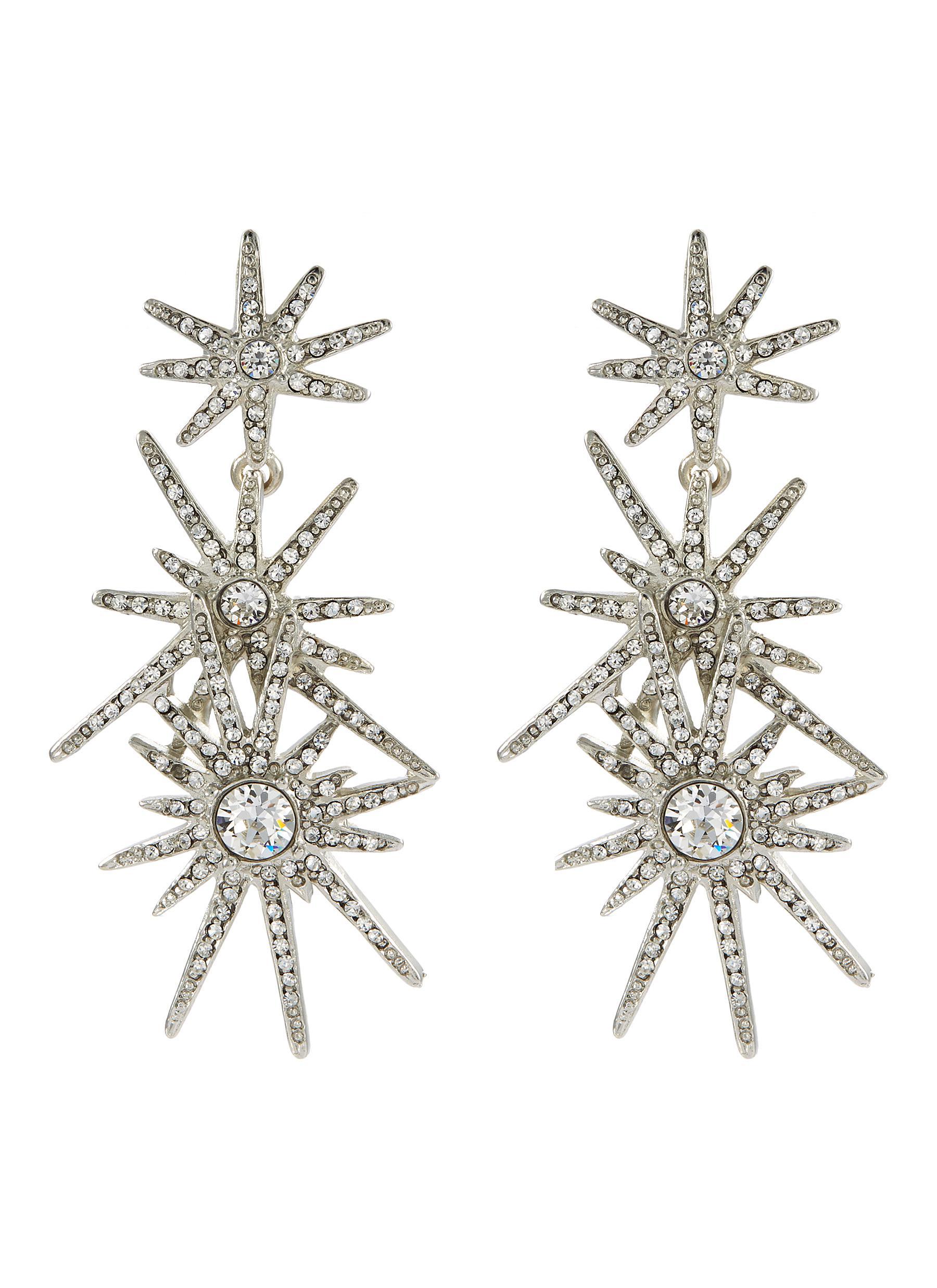 7fc919e2f KENNETH JAY LANE | Glass crystal starburst link drop clip earrings ...